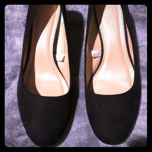 Black velvet high heels
